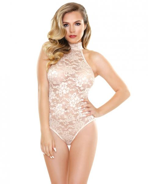 Chloe High Neck Lace Playsuit Champagne S/M