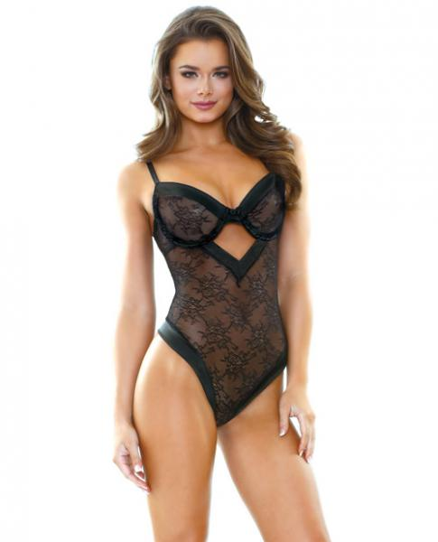 Tease Tori Lace Teddy Satin Trim Black M/L
