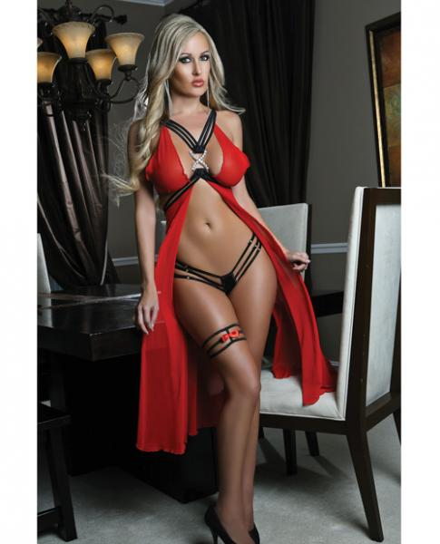 Long Butterfly Sheer Gown Open Strappy Back & Garter Red O/S