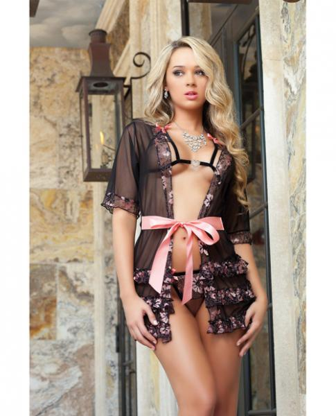 Sheer Robe Open Cup Bra & Thong Pink O/S