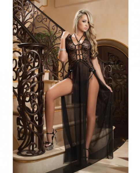 Sheer Lace Gown Double Front Slit & Thong Black O/S