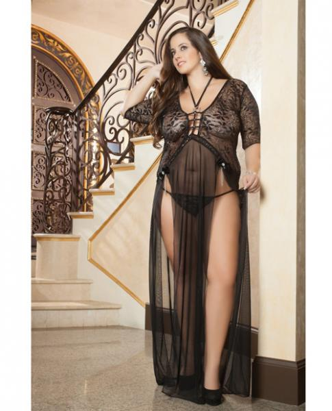 Sheer Lace Gown Double Front Slit & Thong Black 1X/2X