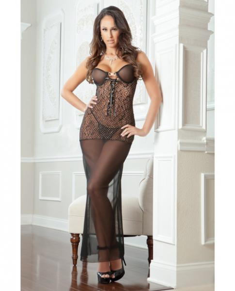 Tattoo Effect Lace Wired Cup Gown Dress Thong Black O/S