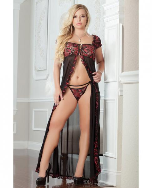 Flirty Front Open Gown with Thong Ruby 3X/4X