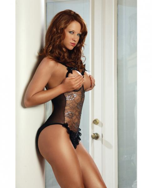 Erotic Body Open Bra & Crotch Teddy Silver Pattern Black O/S