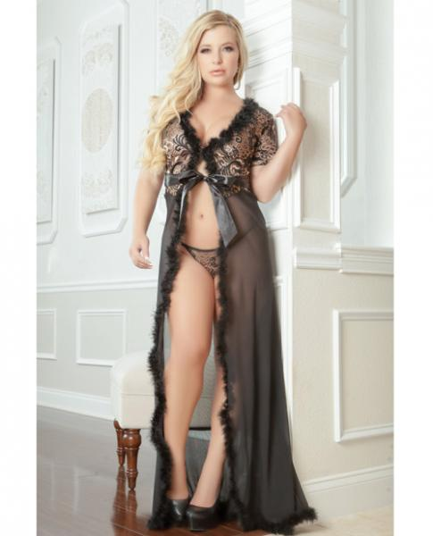 Sensual Lace Fur Trim Robe & Thong Golden Black 3X/4X