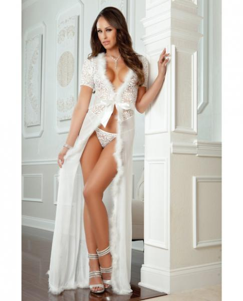 Sensual Lace Fur Trim Robe & Thong Pearl White O/S