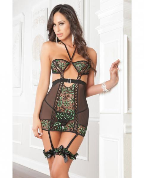 Mesh, Lace Garter Dress, Garters And Thong Jade O/S