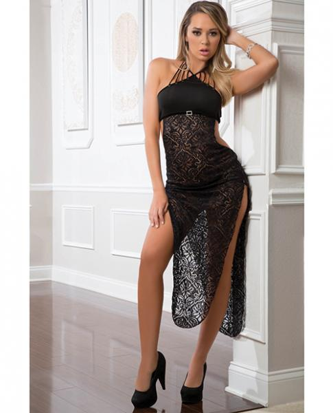 Shoulder Baring Laced Night Dress Black O/S