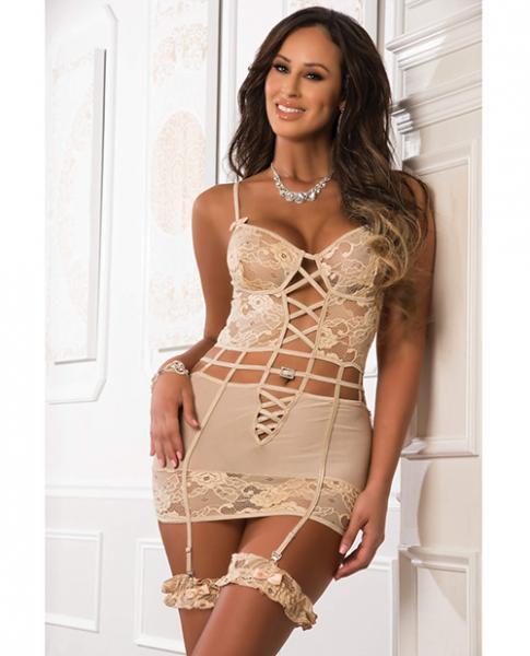Floral Lace Garter Dress Side Zippers & Leg Garters Beige O/S
