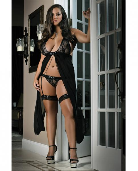 Flyaway Long Dress W/matching Thong & Leg Garters Black 3x/4x