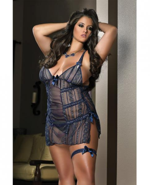Sheer Laced Mini Dress, Leg Garters & Thong Night Blue 1x/2x