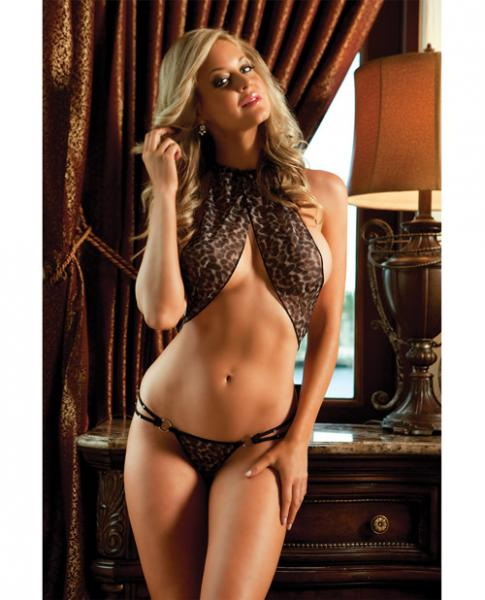 X-Rated Leopard Teddy Strappy & Heart Pasties Black O/S