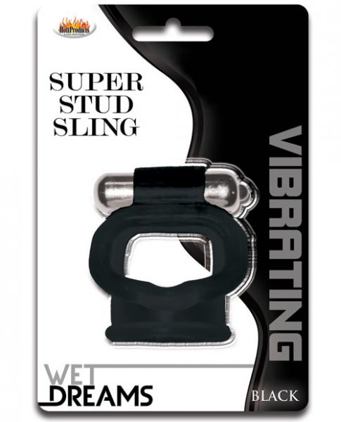 Wet Dreams Super Stud Sling Black Vibrating Ring