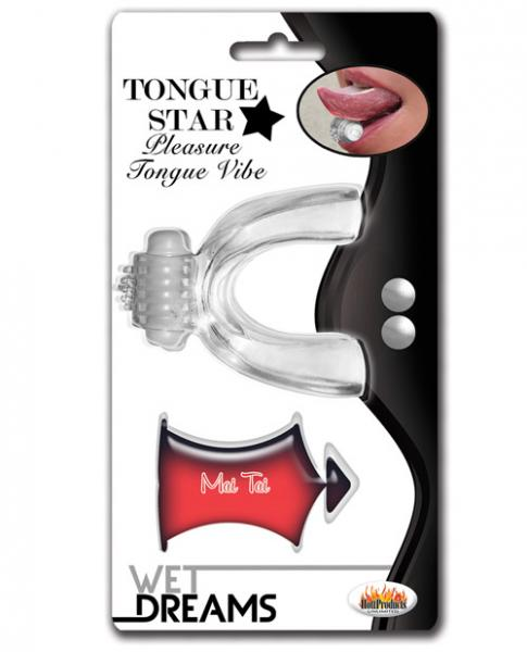 Tongue Star Vibe With 10ml Liquor Lube Pillow Clear