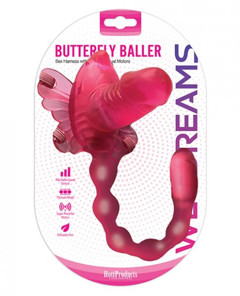 Wet Dreams Butterfly Baller Sex Harness With Dildo Pink