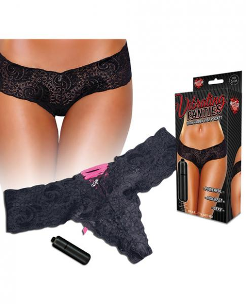 Hustler Vibrating Panties Lace Up Back Thong Black Small/Medium