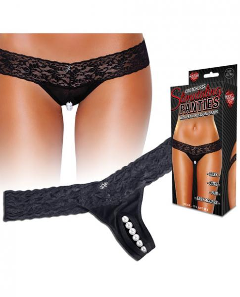Hustler Stimulating Panties Pearl Beads Black S/M
