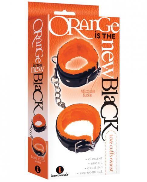 Love Cuffs Wrist Black Orange Lining