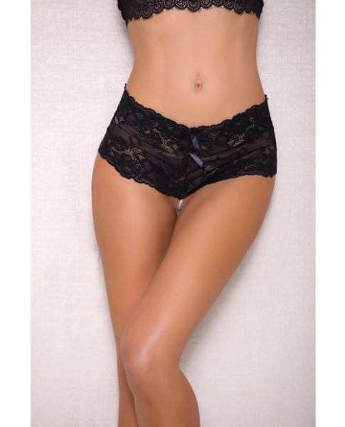 Lace, Pearl Boyshorts Satin Bow Accents Black S/M
