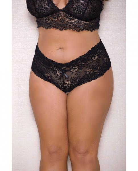Lace, Pearl Boyshorts Satin Bow Accents Black 1X/2X