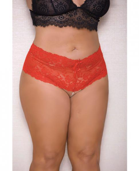 Lace, Pearl Boyshorts Satin Bow Accents Red 3X/4X