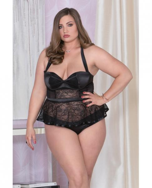 Satin, Lace, Mesh Bustier Underwire Cups & Panty Black 2X