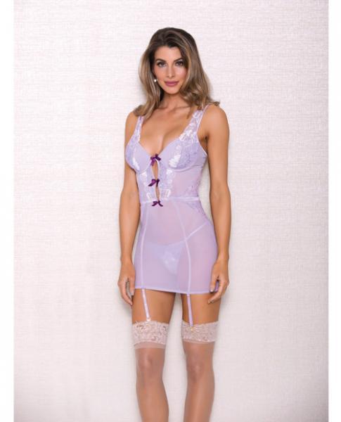 Lace, Mesh Chemise, Garter & G-String Lavender Lg
