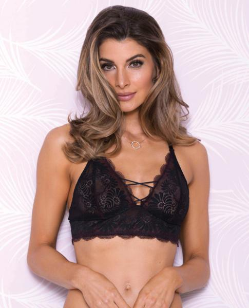 Lace Bralette Mesh Lining, Adjustable Straps Black Md