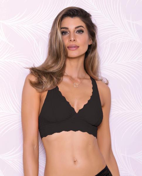 Lace Bralette Racerback & Mesh Lining Black Large