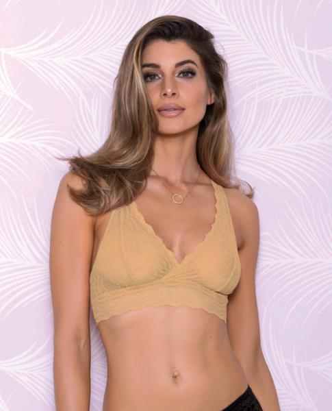 Lace Bralette Racerback Mesh Lining Nude Medium