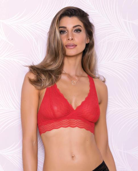 Lace Bralette Racerback & Mesh Lining Red Medium