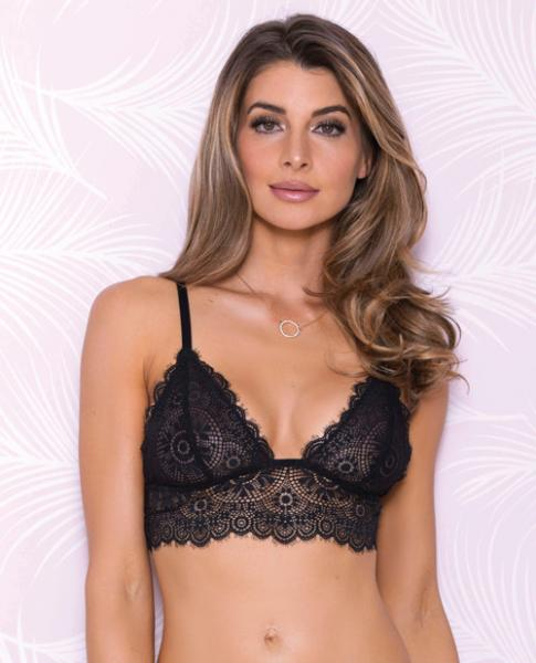 Lace Bralette Adjustable Shoulder Strap Black Md