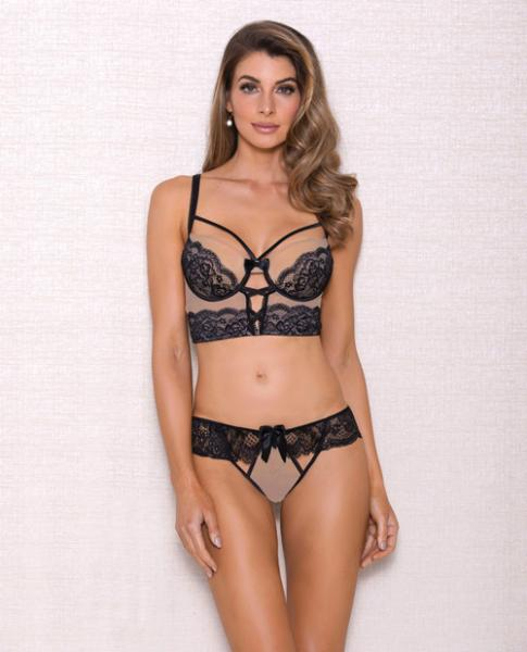 Mesh Multi Strap Lace Bra & Panty Nude Black Sm