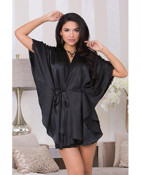 Holiday Flutter Sleeve Satin Robe Sash & Trim Black Sm