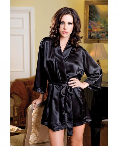 Satin 3/4 Sleeve Robe Matching Sash Black S/M