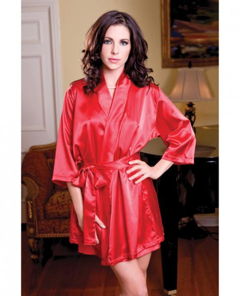 Satin 3/4 Sleeve Robe Matching Sash Red L/XL
