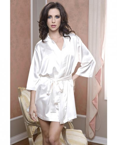 Satin 3/4 Sleeve Robe Matching Sash White L/XL