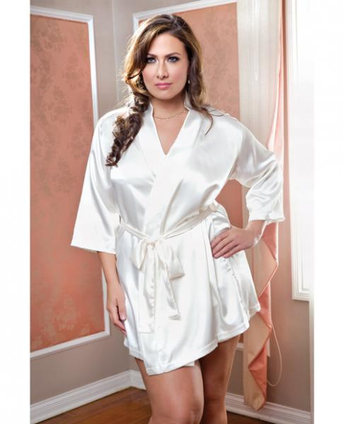 Satin 3/4 Sleeve Robe Matching Sash White 1X/2X