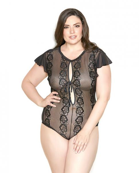 Sheer Lace Floral Ruffle Sleeve Teddy Black 1X