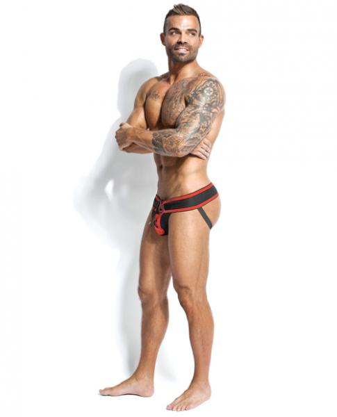 Footballer Lace Up Jockstrap Black/Red Medium