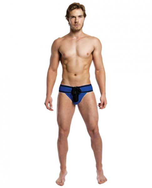 Footballer Lace Up Jock Strap Royal/Black Small