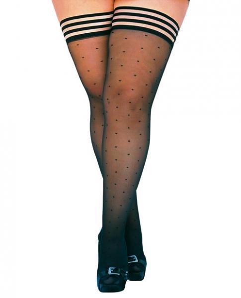 Ally Polka Dot Thigh High Stockings Black Size D