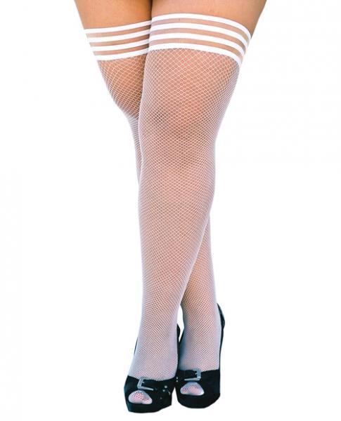 Kixies Sammy Fishnet Thigh Highs White D