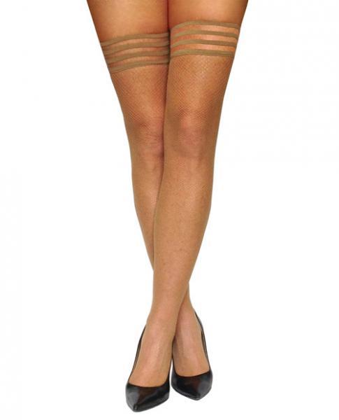 Kixies Samantha Fishnet Thigh High Nude B