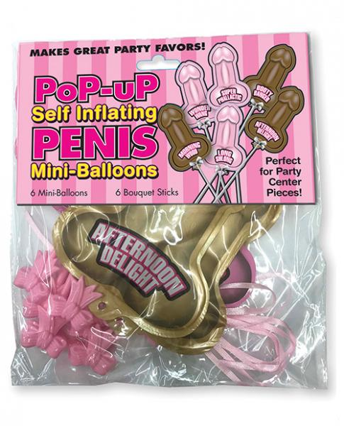 Pop Up Self Inflating Penis Mini Balloons 6 Pack