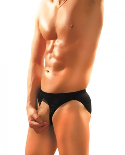 Nylon Spandex Pouchless Brief Black O/S