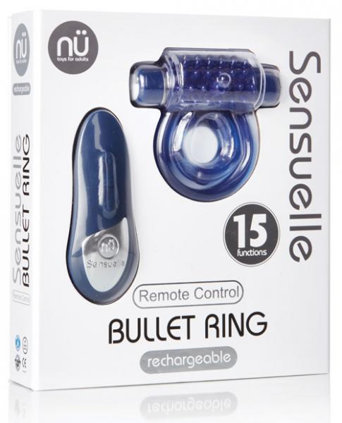Sensuelle Remote Control Rechageable Bullet Ring Blue