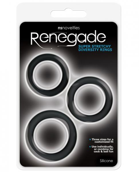 Renegade Diversity Rings Black Pack Of 3
