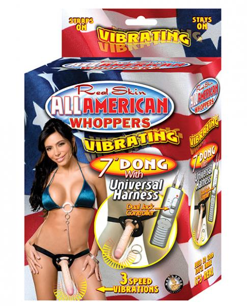 All American Whoppers 7 inches Vibrating Dong Universal Harness Beige